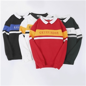 Harry Potter Academy Stripe Series Stitching Letter Embroidered Loose Couple Sweatshirt