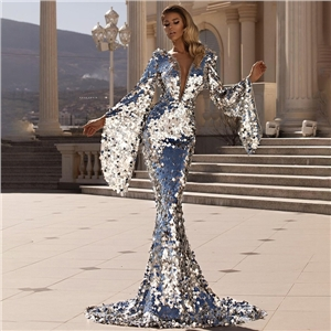 Women's sexy sequined silver party dress bag hip evening dress