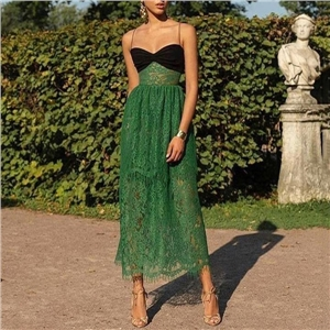 Women's sexy sling stitching solid color lace long dress