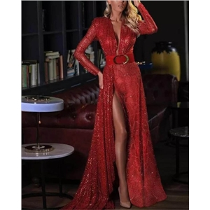 Women's sexy dress split ends solid color sequins long mopping floor evening gown