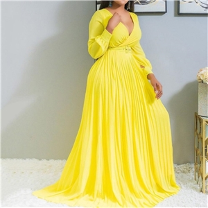 Women's deep V solid color pleated big swing dress